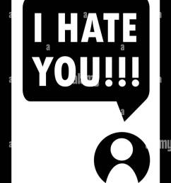 cyberbullying i hate you message on smartphone display vector stock vector [ 689 x 1390 Pixel ]