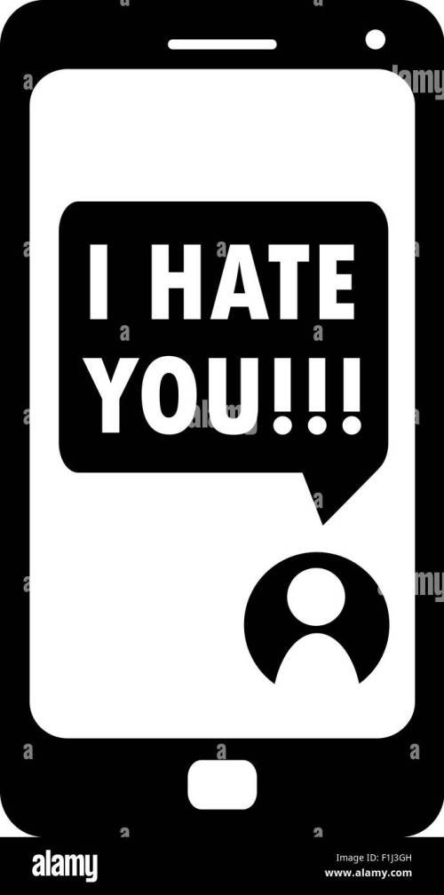 small resolution of cyberbullying i hate you message on smartphone display vector stock vector