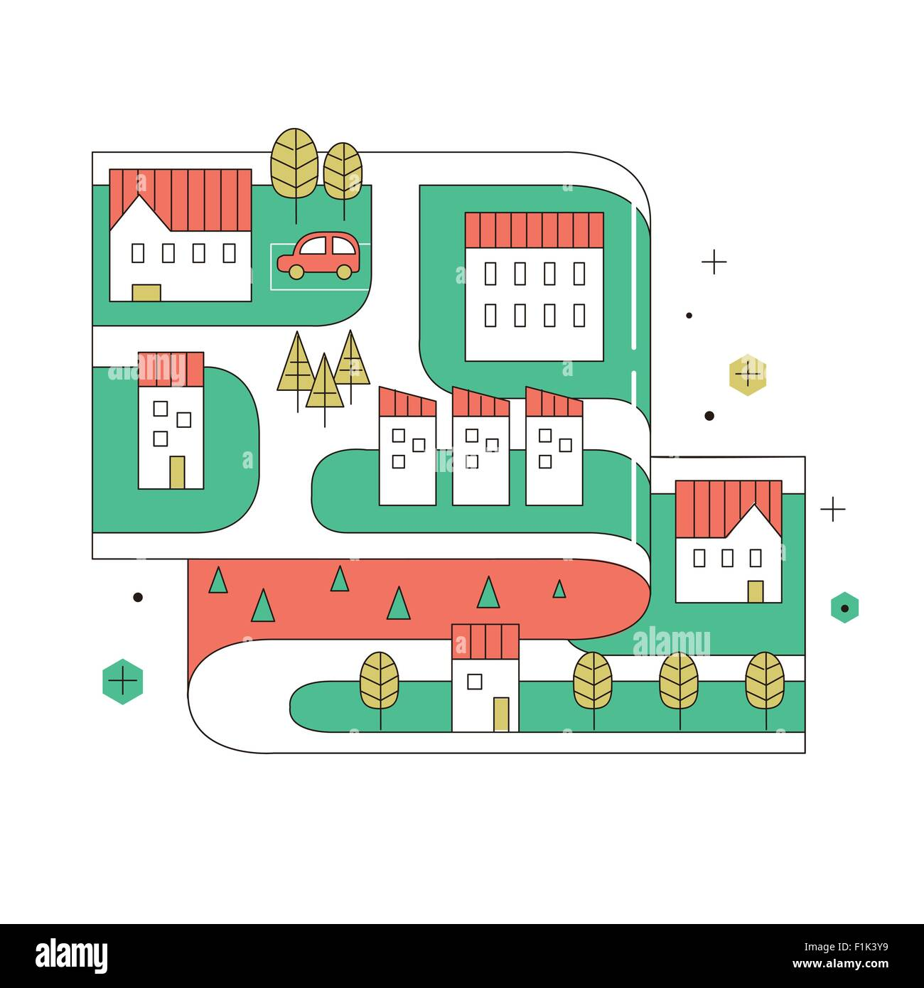 Street Map Of Small Town In Thin Line Flat Design Stock