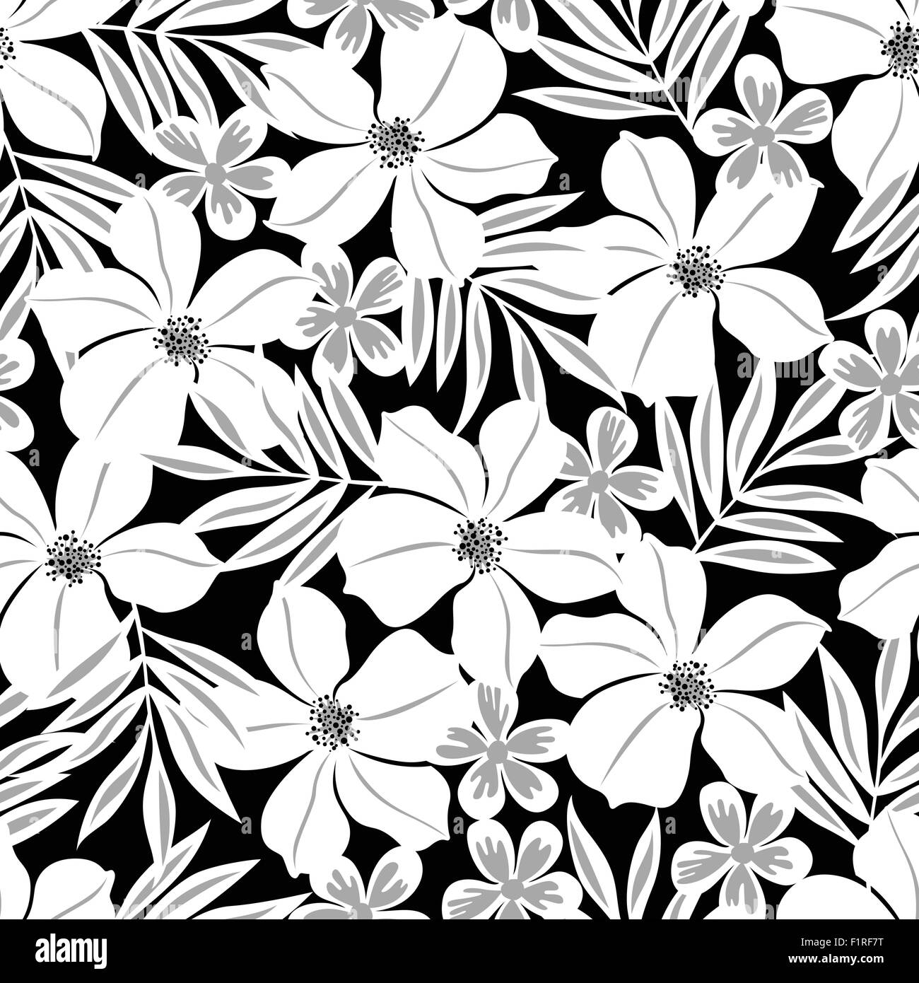 White tropical flower on a black background seamless