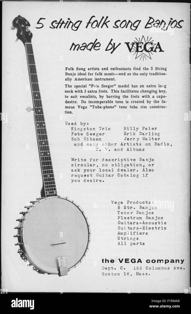 FOLK MUSIC EPHEMERA, circa 20s. PRINT AD FOR VEGA BANJOS