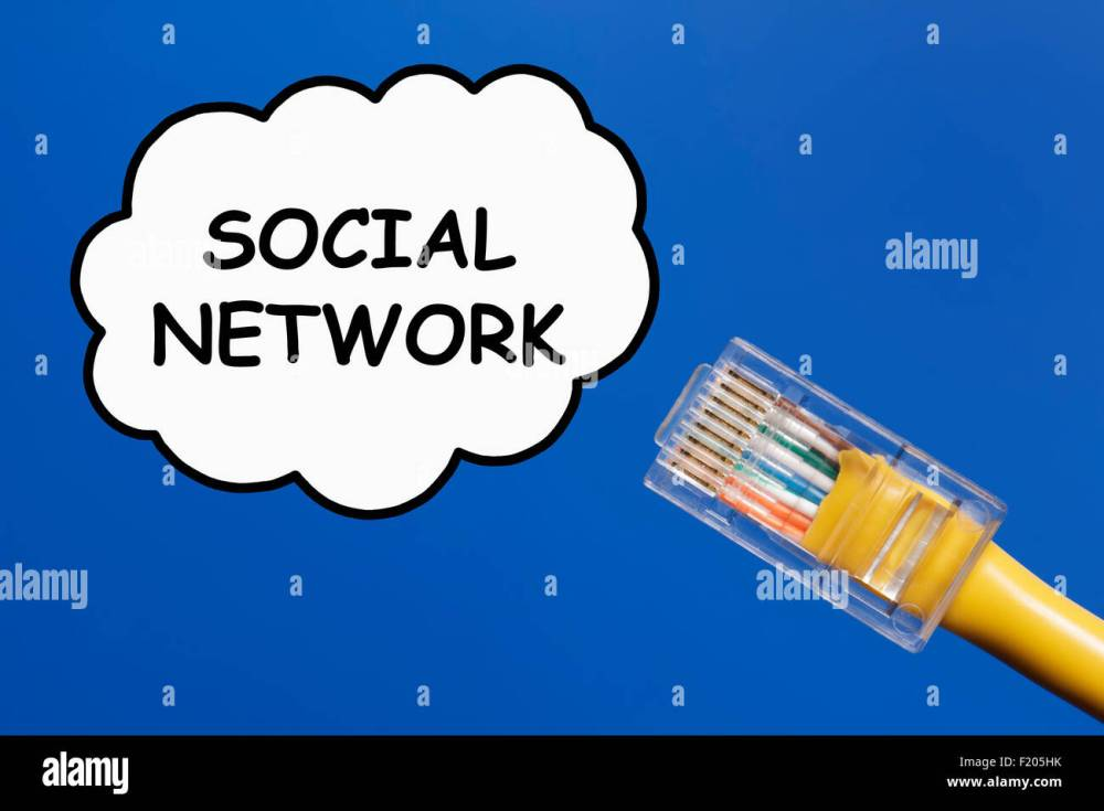 medium resolution of social network concept lan cable connecting into a social network represented as a cloud on a plain sky blue background