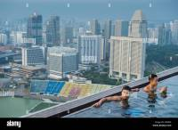 Singapore, Marina Bay, swimming-pool on the rooftop of ...