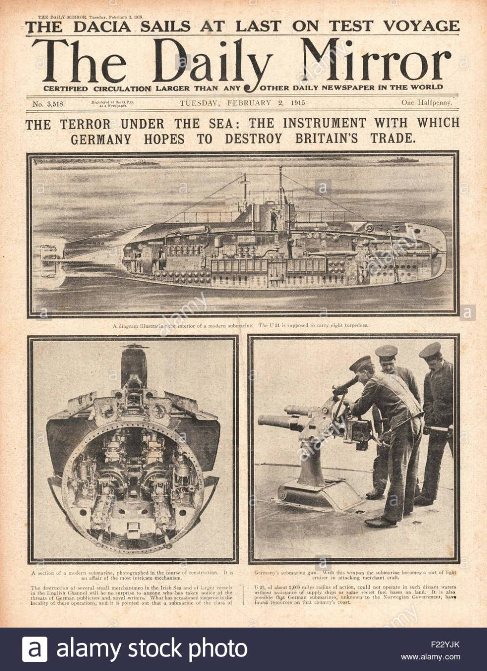 medium resolution of 1915 front page daily mirror menace of german u boats