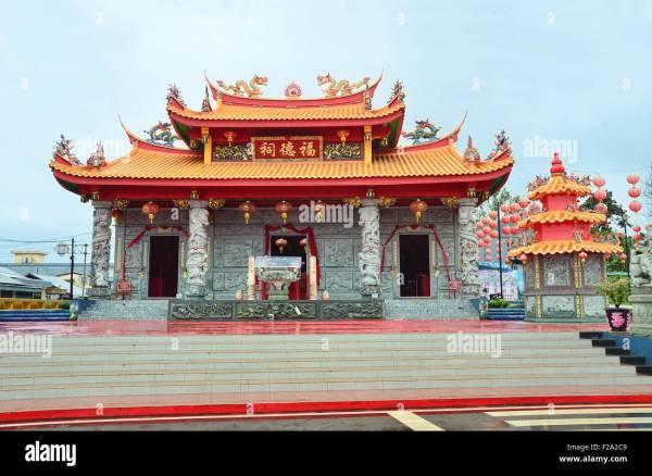 Facade Of Kelapa Kampit Chinese Temple In Belitung Island