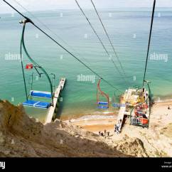 Old People Chair Lift Plastic Outdoor Table And Chairs A Takes Down To The Sandy Beach Where They Can See Multi Coloured Chalk In Cliff Cable Car Is Many Decades Remains Very