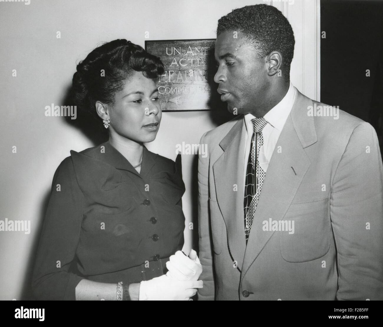 Jackie Robinson Brooklyn Baseball Player And His Wife Outside The Stock Photo Royalty Free