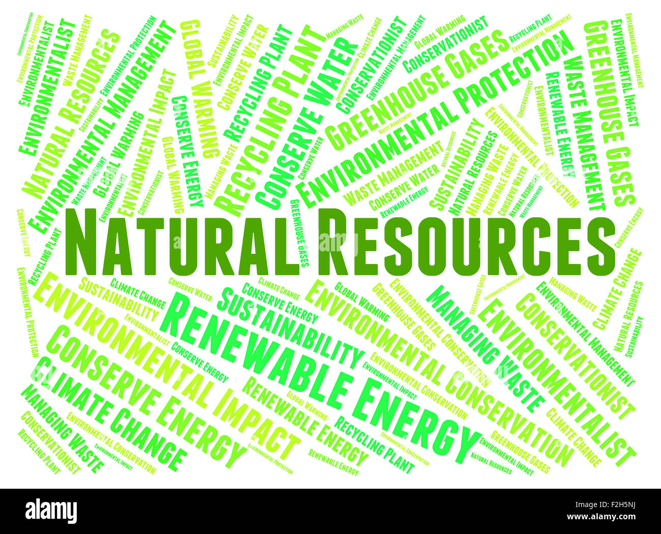 Natural Resources Showing Raw Material And Words Stock