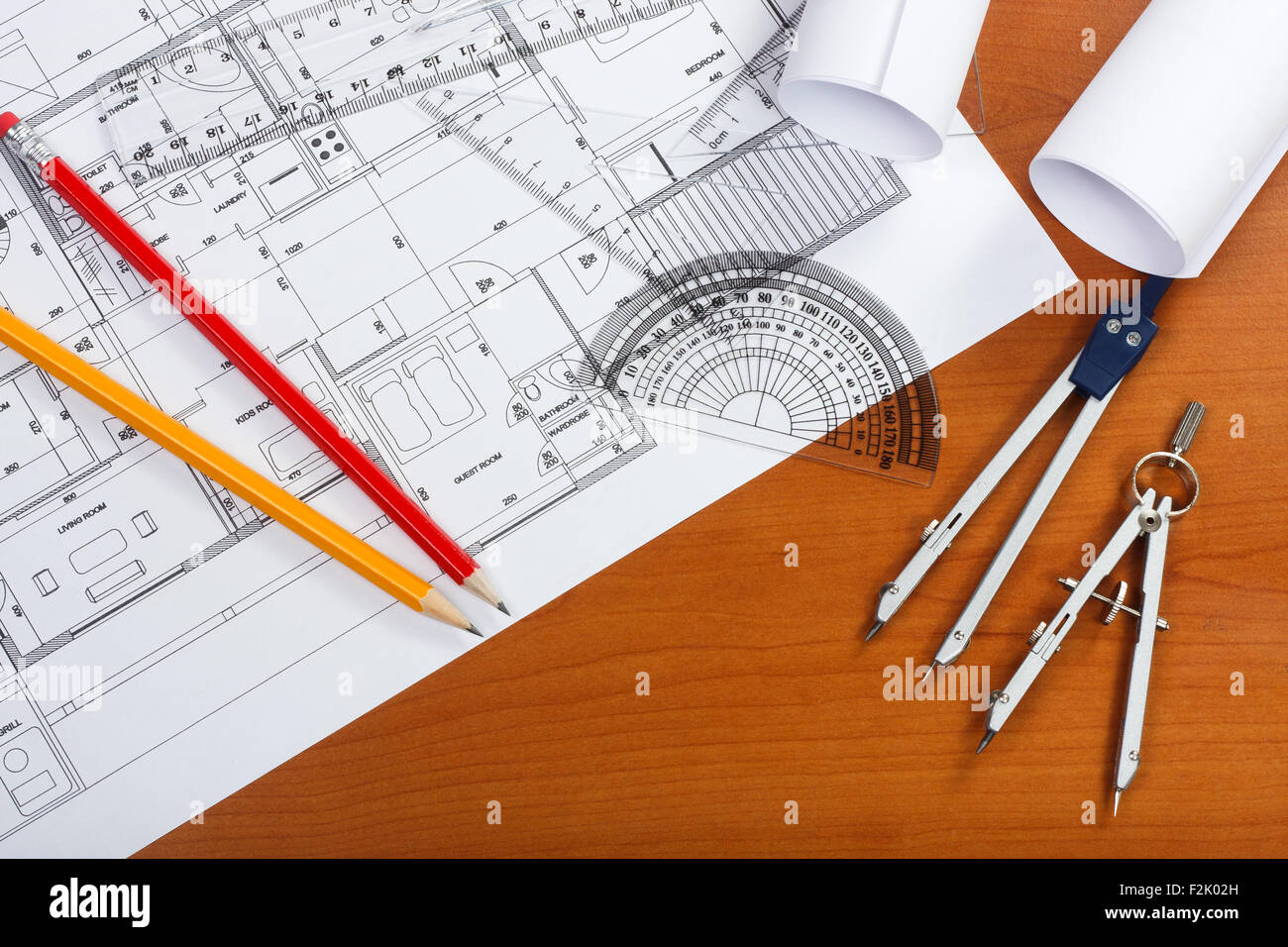 hight resolution of architectural plans pencils and ruler on the desk