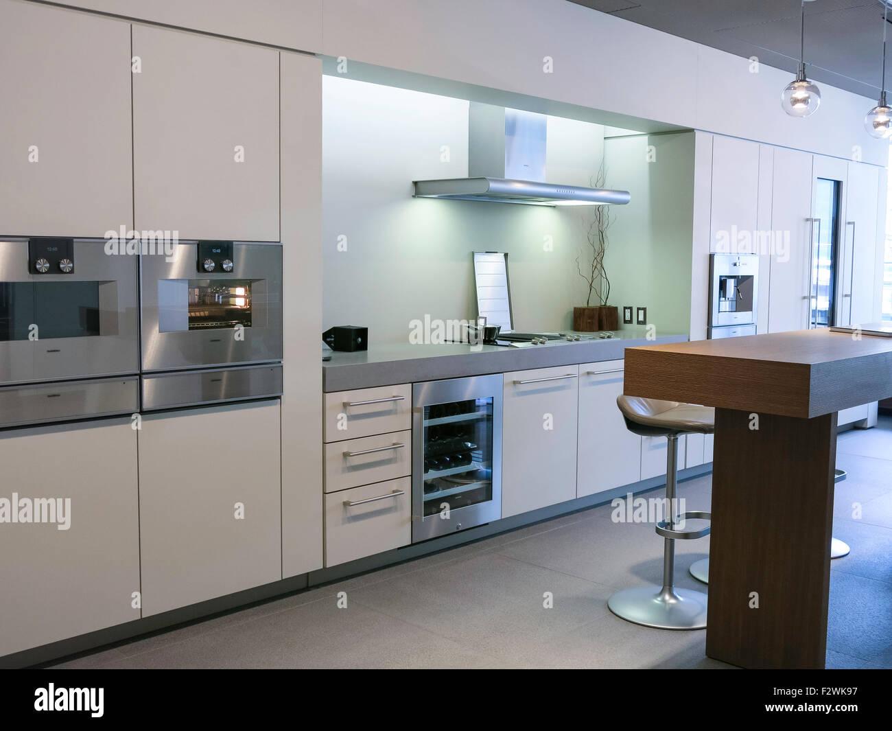 Luxury Interior Bosch Brand Kitchen Design Showroom NYC USA Stock