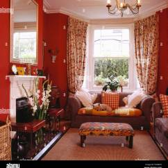 Curtains For Living Room With Grey Sofa Picture Of Rooms Decorated Upholstered Stool And In Front Window Floral Stock Red Eighties