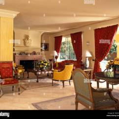 Red Curtains For Living Room Throw Blankets And Colourful Chairs Sofa In Spanish