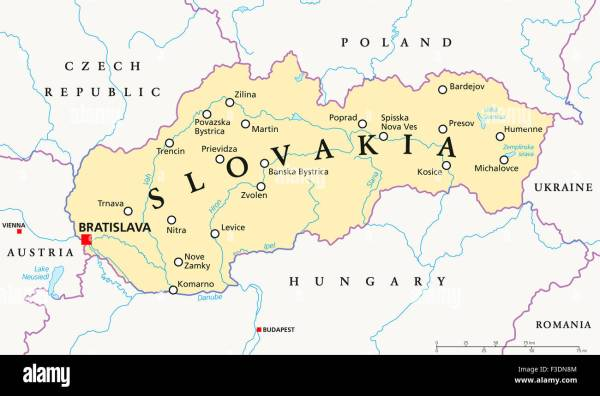 Slovakia political map with capital Bratislava national