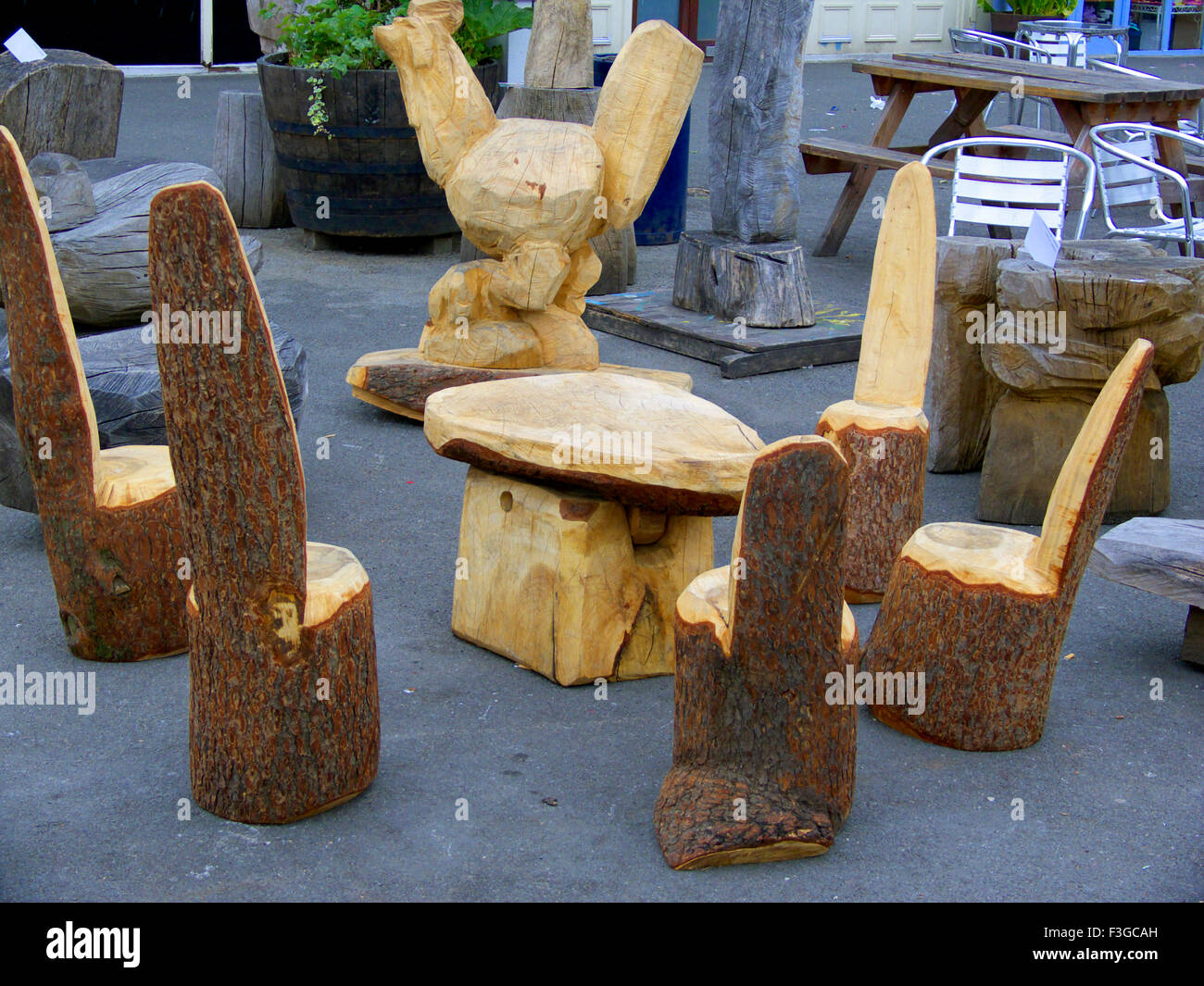 unusual wooden chair shower vs tub transfer bench type of chairs and table made from raw logs stock