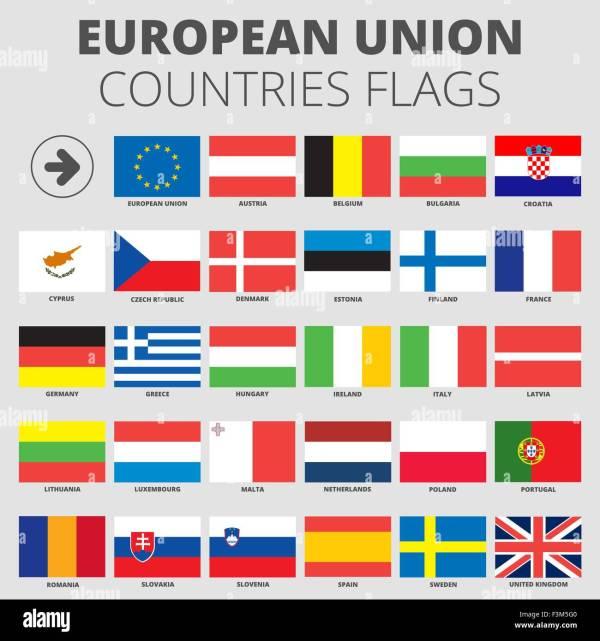 European Union country flags 2014 member states EU Stock