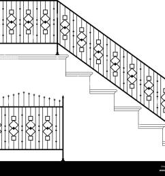 wrought iron stair railing design vector art [ 1300 x 1064 Pixel ]