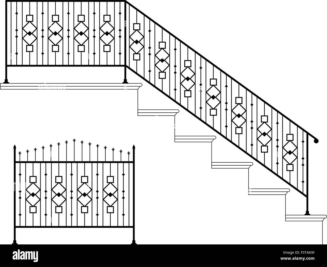 hight resolution of wrought iron stair railing design vector art