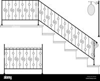 Wrought Iron Stair Railing Design Vector Art Stock Vector ...