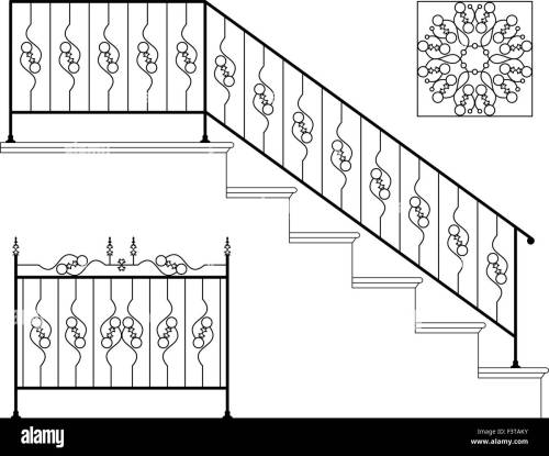 small resolution of wrought iron stair railing design vector art