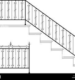 wrought iron stair railing design vector art [ 1300 x 1079 Pixel ]