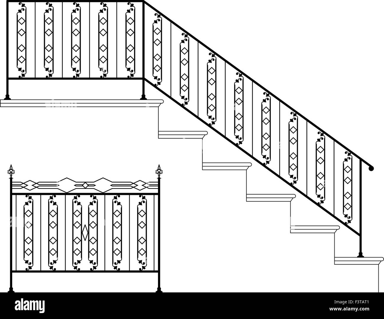 hight resolution of wrought iron stair railing design vector art stock vector art wrought iron stair railing pictures diagram