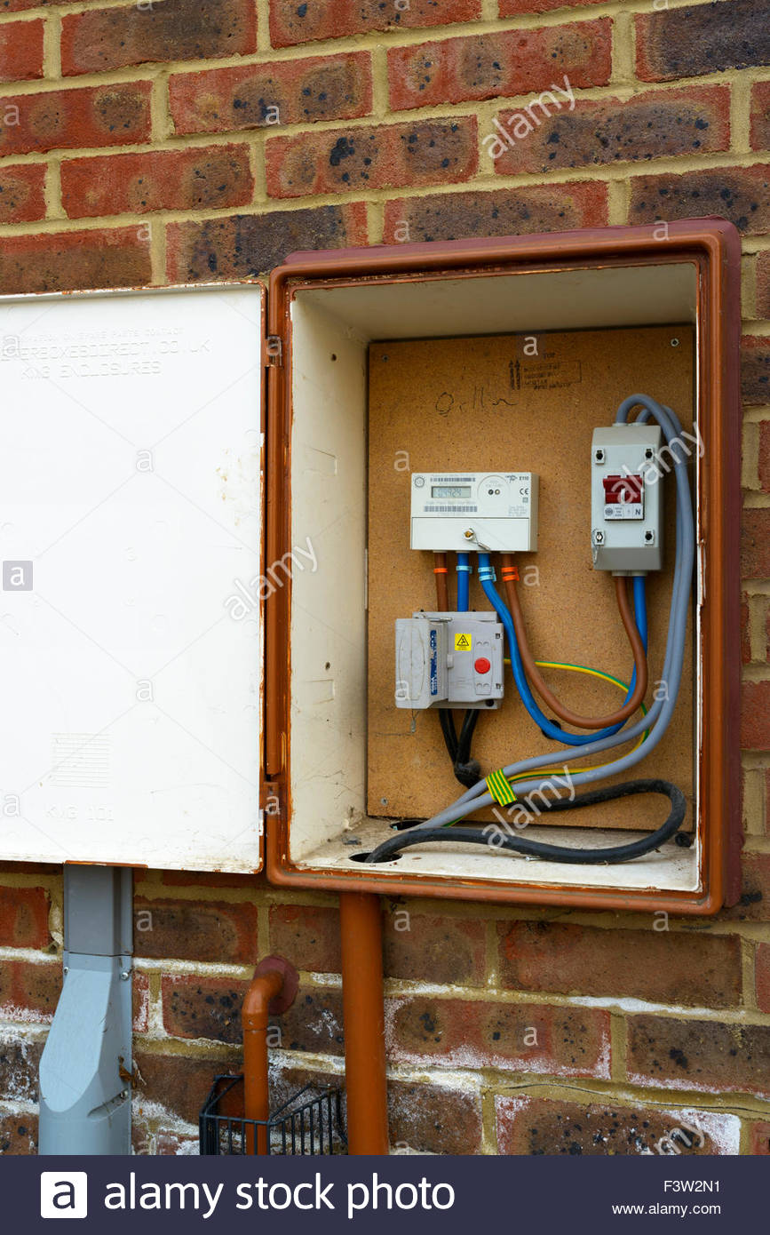 medium resolution of external meter box sturminster newton dorset england uk stock image