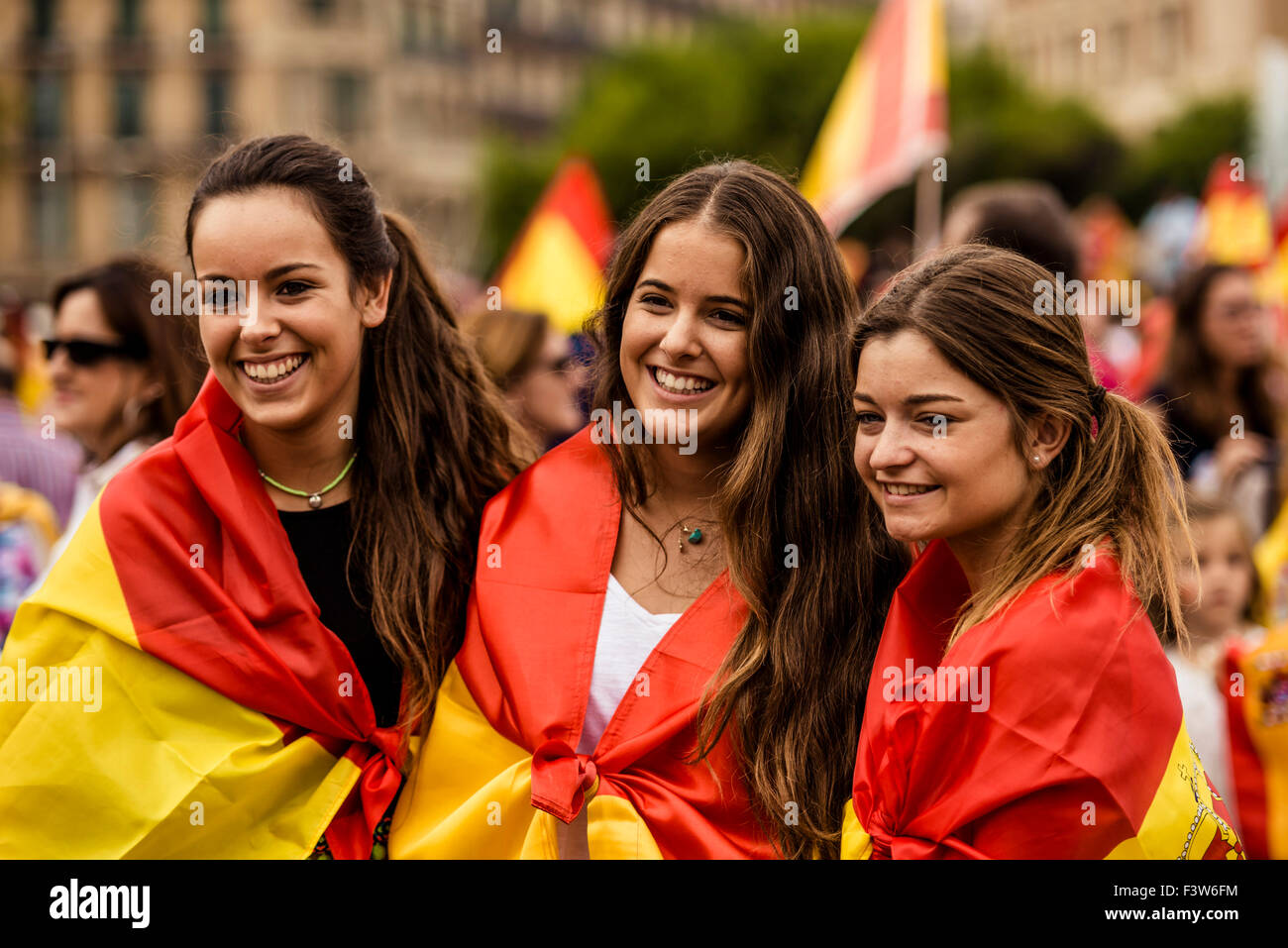 Barcelona Spain 12th Oct Catalan Girls Have