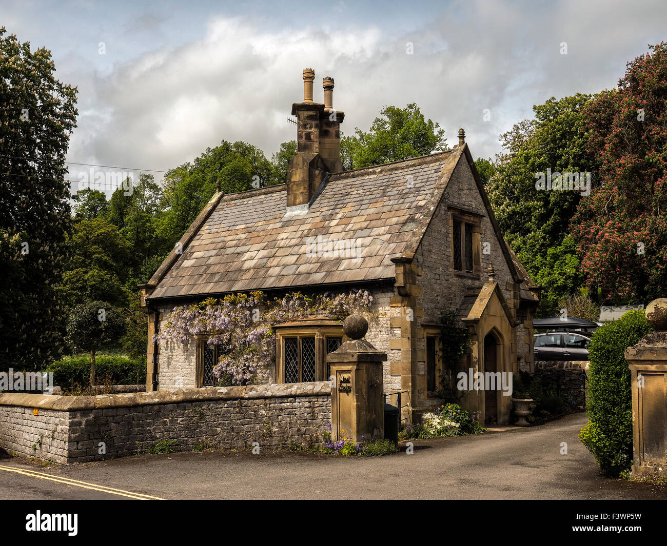 Small stone cottage in Derbyshire England Stock Photo