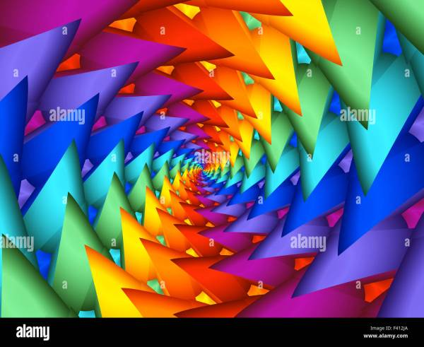 Beautiful Rainbow Psychedelic Spiral Fractal Background