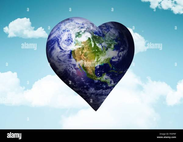 Heart Shaped World Map Stock &