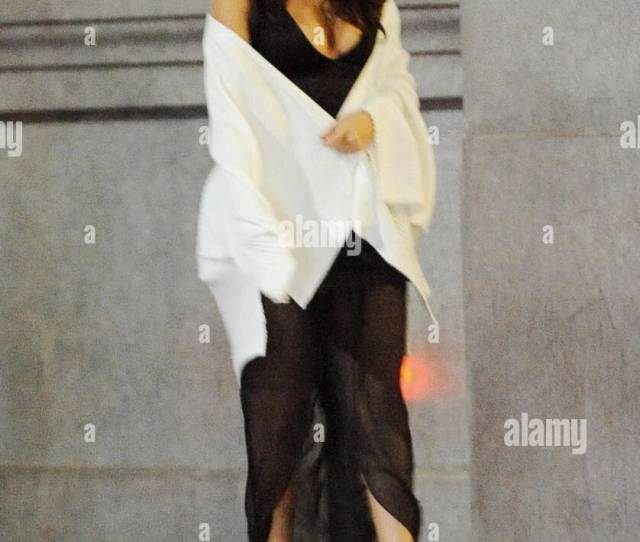 Singer Selena Gomez Shows Off Her Toned Legs And Cleavage In A Sheer Black Dress Filming Late Night Scenes For Her New Music Video In Downtown Los Angeles