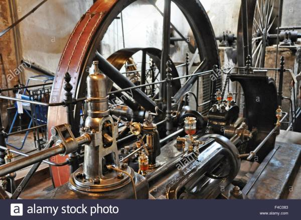 Steam Engine Factory 19th Century Stock Royalty