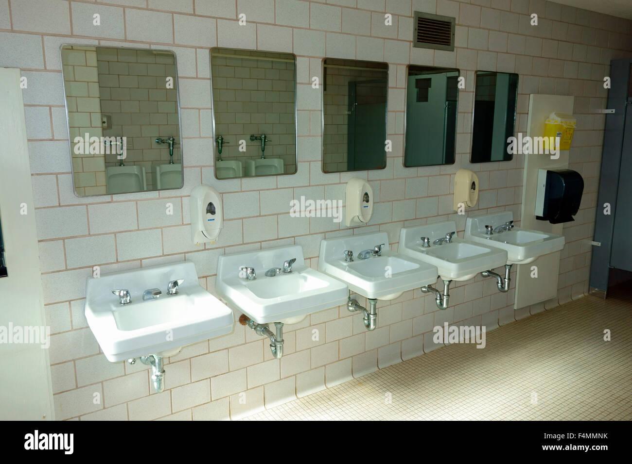 A Row Of Sinks In A Public Washroom Bathroom Restroom Latrine Stock Photo Alamy