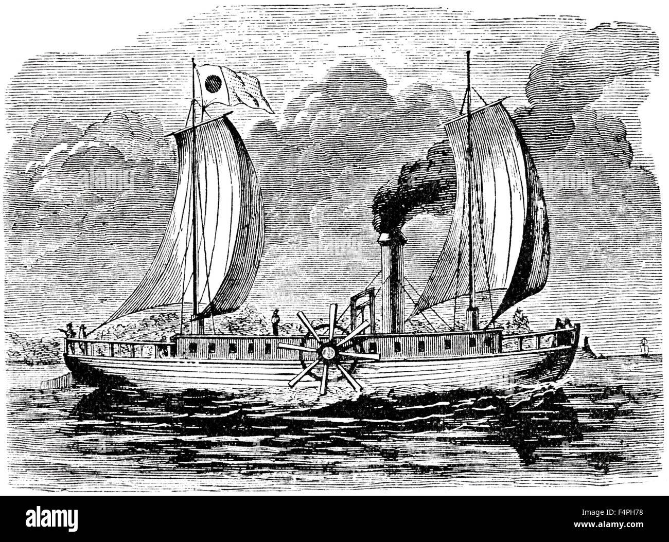 Robert Fulton S Steamboat Engraving Stock Photo