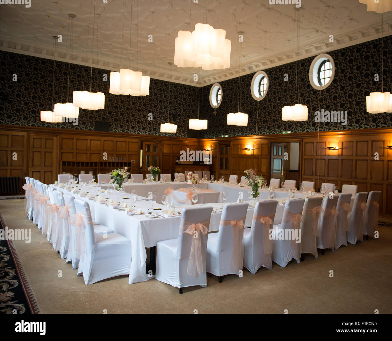 chair covers scotland babies r us rocking chairs and gliders wedding reception room table layout tables set in a square formation stock photo: 89036337 - alamy