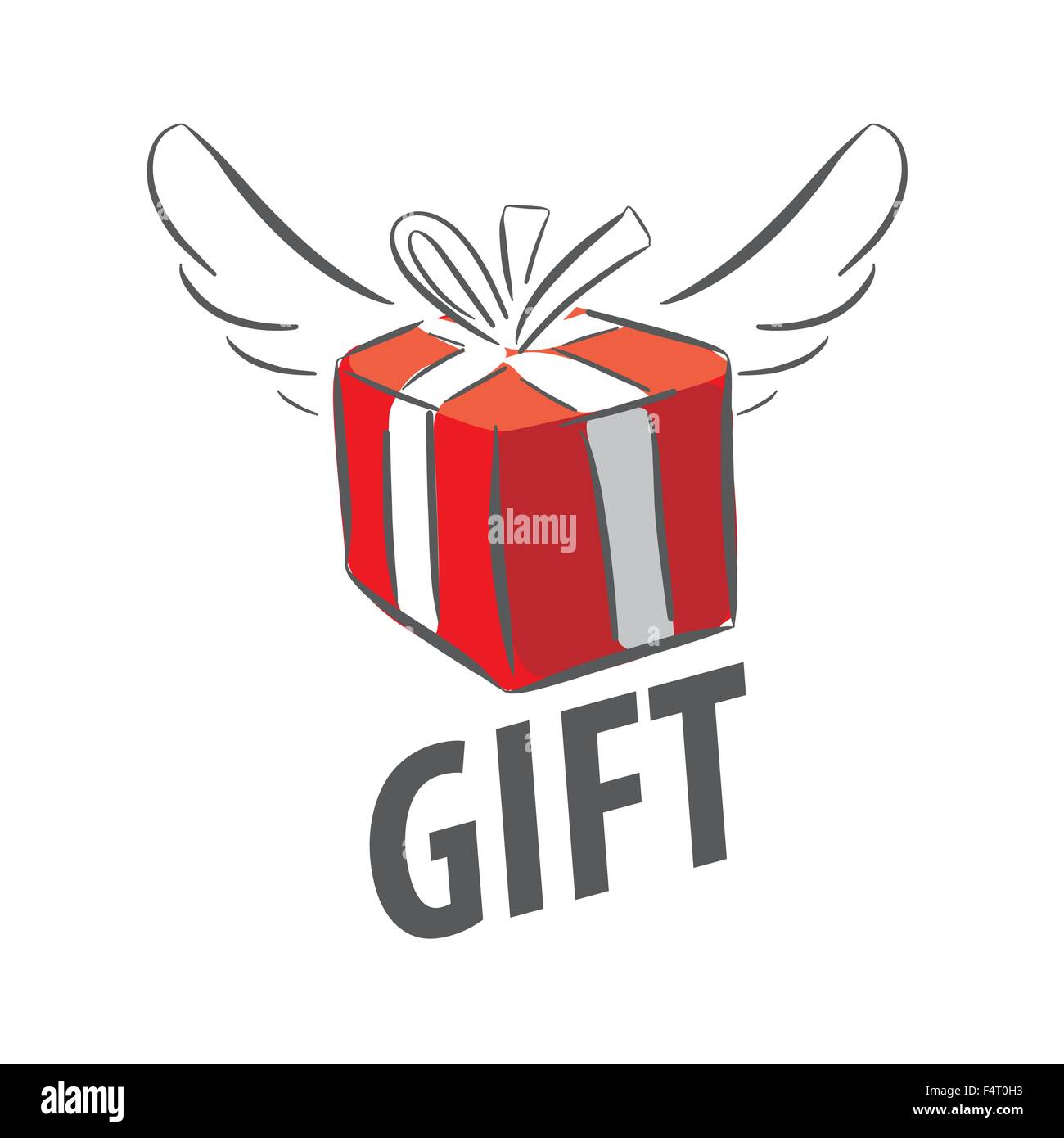 Vector Logo Red Gift Box With Wings Stock Vector Art