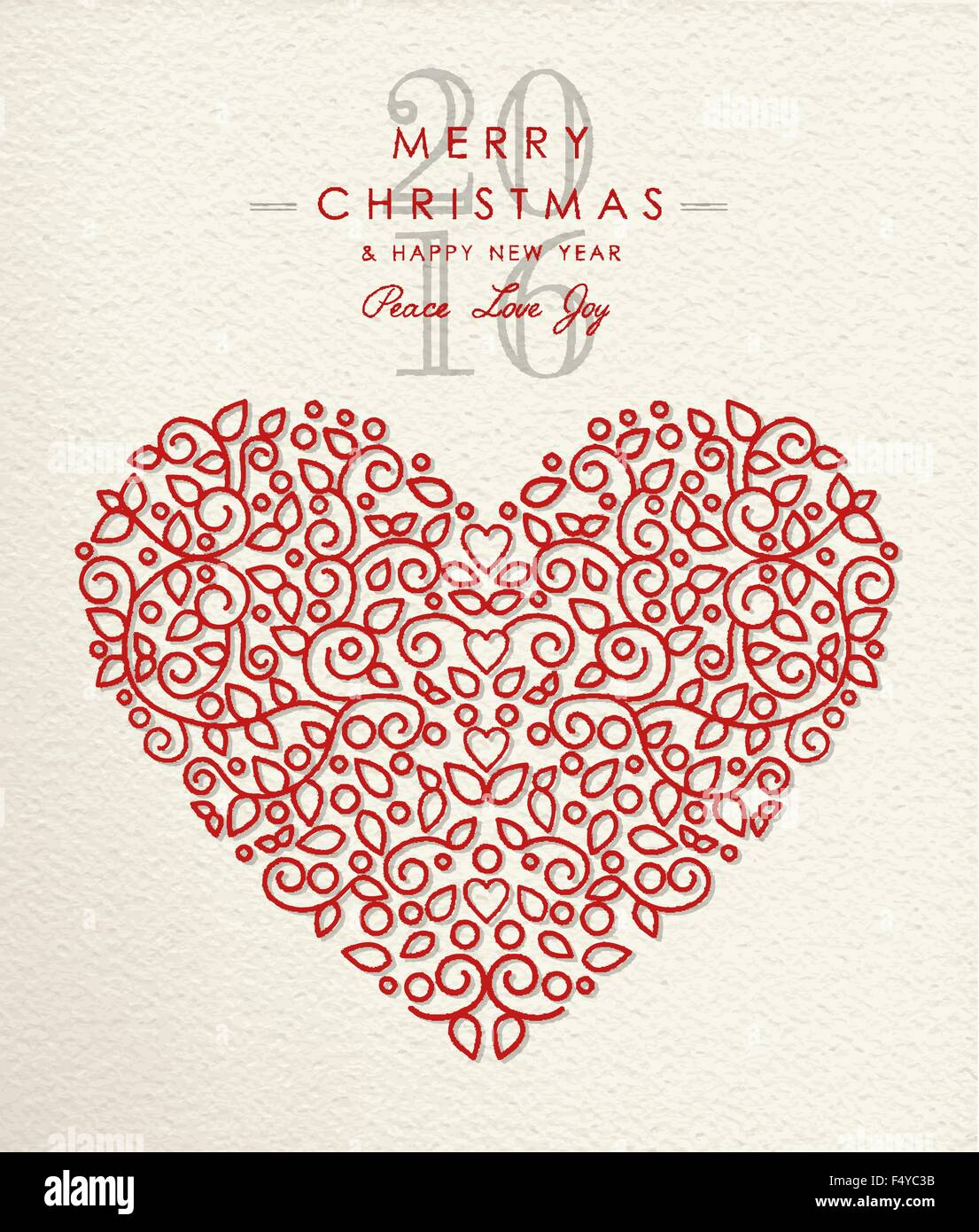 Merry Christmas Happy New Year 2016 Heart Shape In