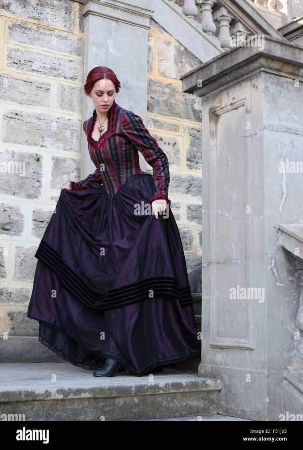 Beautiful Woman in Victorian Era Dress