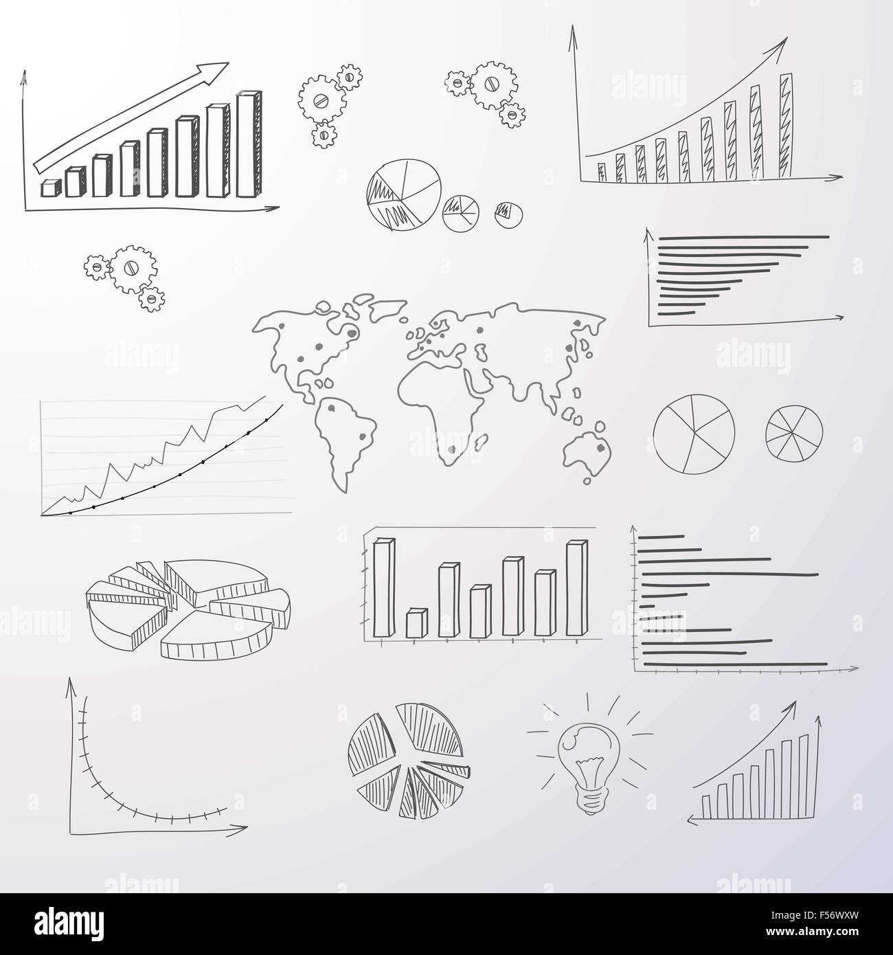 hight resolution of graph set finance diagram infographic hand draw icon sketch financial