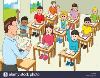 Cartoon illustration of a teacher in the classroom with student Stock Vector Image & Art Alamy