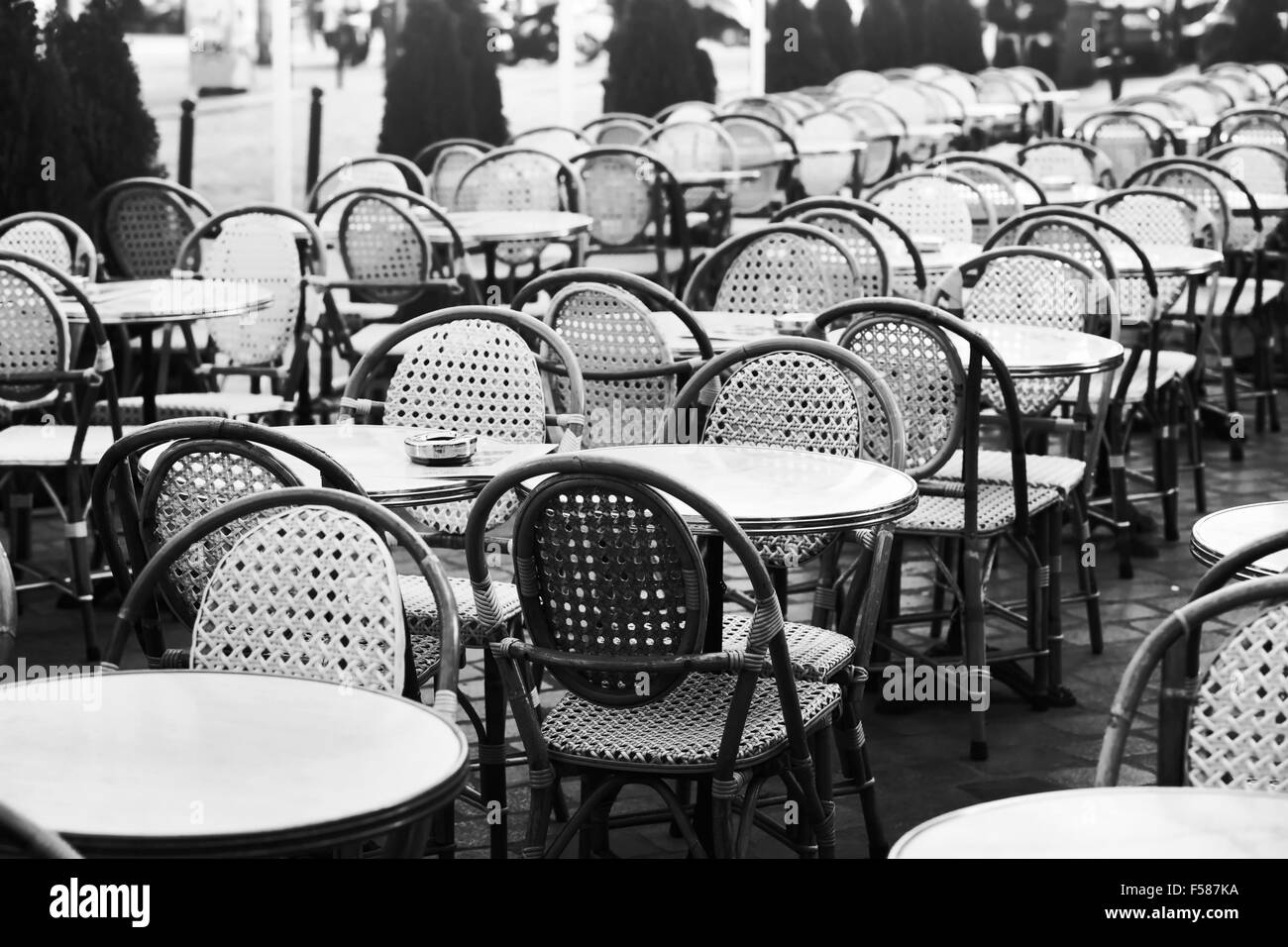 parisian cafe table and chairs bedroom chair ideas vintage street in paris black white photo of wicker tables