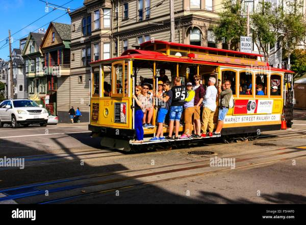 People Riding Famous San Francisco Cable Cars