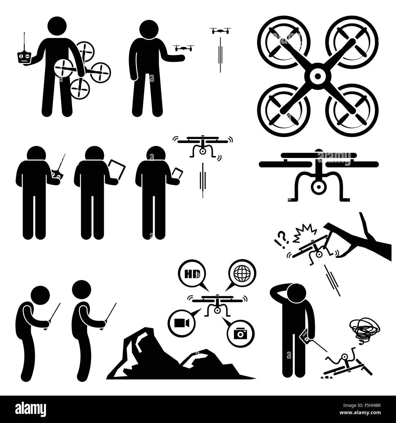 Man Controlling Flying Drone Quadcopter Stick Figure