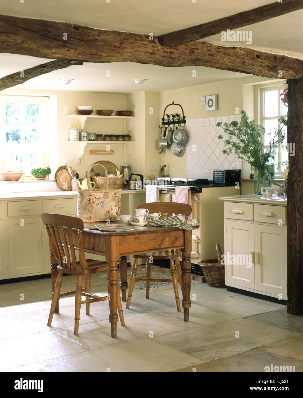 pine kitchen chairs ireland double adirondack chair vintage dining table and in a cream cottage
