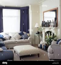 blue and cream living room | www.myfamilyliving.com