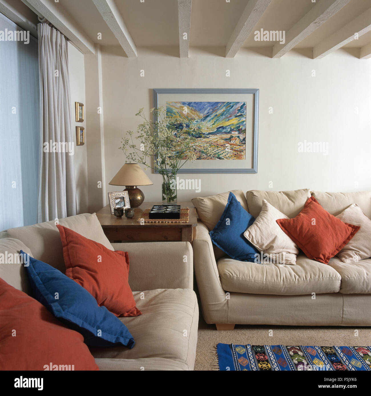 cushions living room interiors 2018 blue and red on cream sofas in a traditional with lime washed beamed ceiling