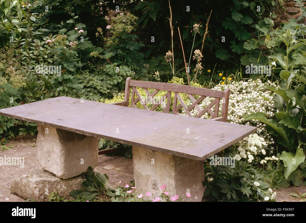 https www alamy com stock photo garden table made from slate top on rough stone plinths on a patio 89549271 html