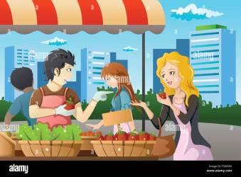 market shopping farmers vector alamy
