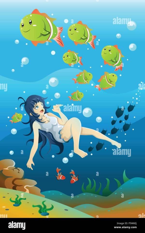Girl Swimming Underwater Stock Vector - Alamy
