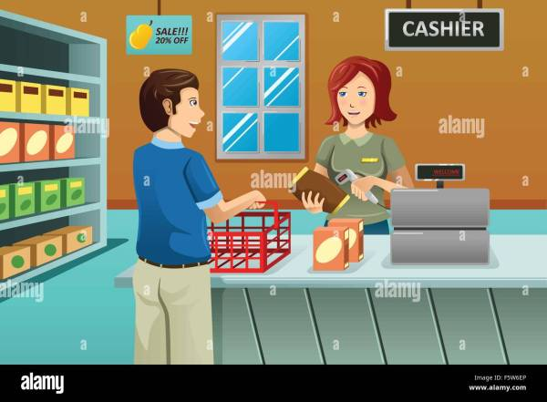 Vector Illustration Of Cashier Working In Grocery